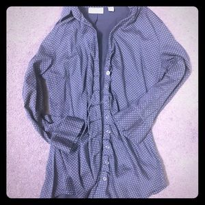 Gray button down with ruffle detail and 3/4 sleeve